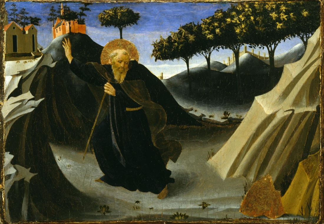 Fra_Angelico_-_Saint_Anthony_Abbot_Shunning_the_Mass_of_Gold_-_Google_Art_Project